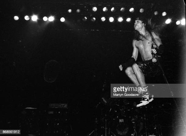 American funk rock group Red Hot Chili Peppers perform on stage at the Astoria London 1989 Anthony Kiedis