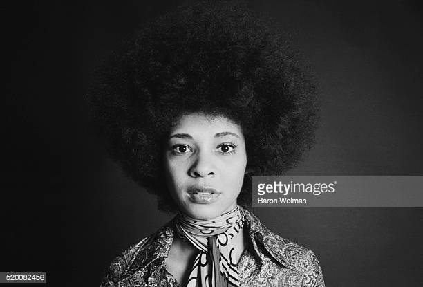 """American funk singer Betty Davis photographed in studio for """"Rags"""" a counterculture fashion magazine published monthly by Baron Wolman in San..."""