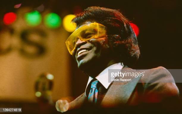 American Funk, Soul, & R&B singer James Brown , at the Technics World DJ Mixing Championships, Royal Albert Hall, London, 3/8/1988.