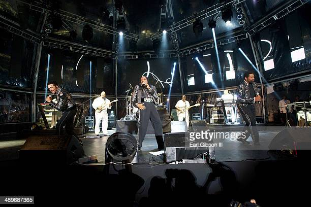 American funk/soul band the Commodores perform at the 2014 Saint Lucia Jazz Arts Festival on May 11 2014 in Castries Saint Lucia