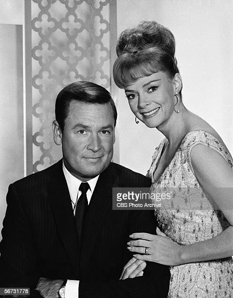 American game show host Bob Barker and actress June Lockhart pose together for a publicity photo for the Miss Universe and Miss USA beauty pageants...