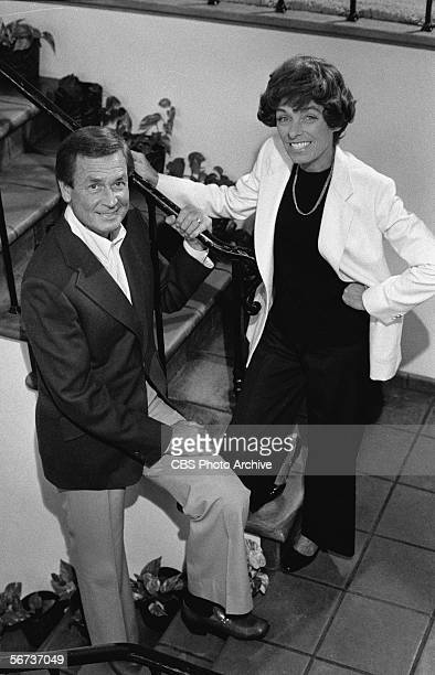 American game show host Bob Barker and his wife Dorothy Jo pose on the stairs of their house November 4 1977