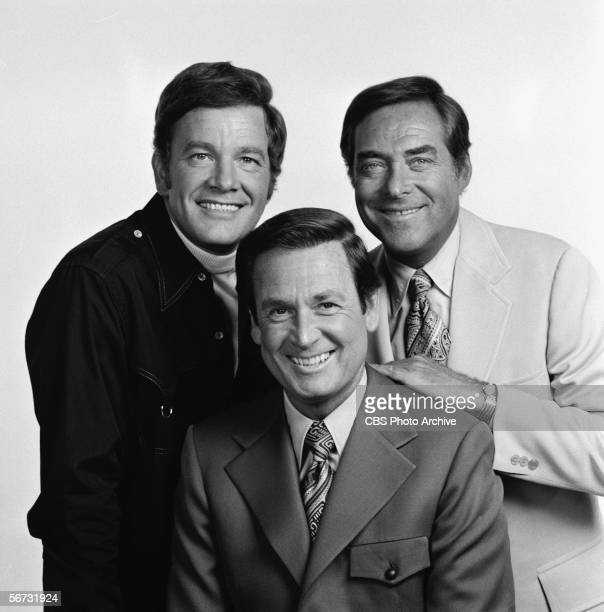 American game show hosts Wink Martindale of 'Gambit' Bob Barker of 'The Price is Right' and Jack Barry of 'The Joker's Wild' pose for a publicity...