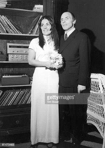 American gangster Joe Gallo also known as Crazy Joe poses with his wife Sina Essary at their wedding reception in New York City 16th March 1972 Gallo...