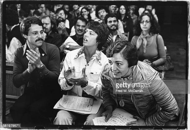 American gay and lesbian rights activist Jean O'Leary and Lieutenant Governor of New York Mary Anne Krupsak attend a rally at City Hall in support of...
