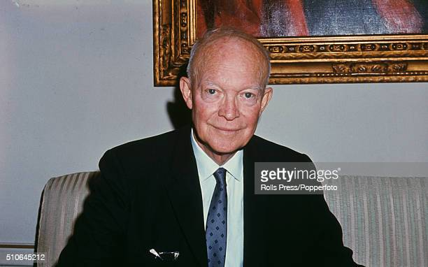 American General and 34th President of the United States Dwight D Eisenhower pictured during a visit to the residence of Cardinal Francis Spellman...