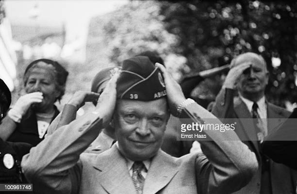 American General and US President Dwight D Eisenhower attends an American Legion parade in New York City circa 1952
