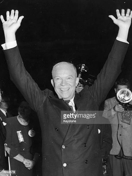American General Dwight D Eisenhower smiling after winning the presidential election as the Republican Party candidate.