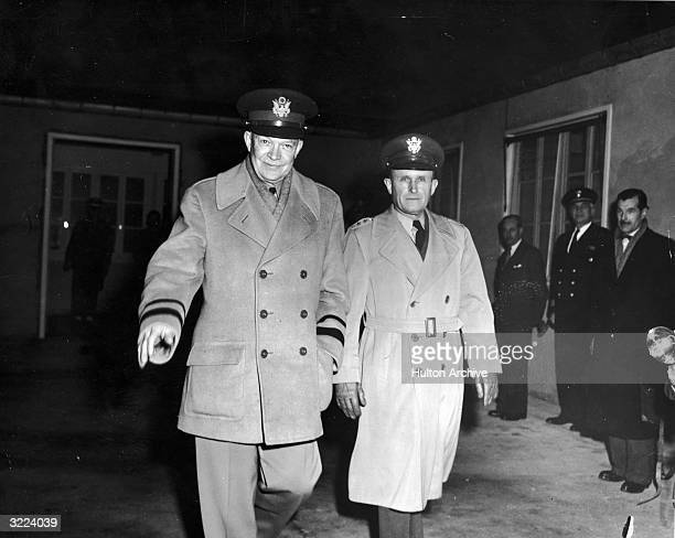 American General Dwight Eisenhower and General Alfred M. Gruenther , Chief of Staff, leaving SHAPE , Rocquencourt, France, January 7, 1952.