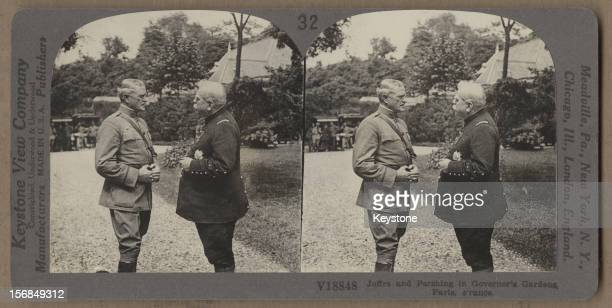 American general John Joseph Pershing with French general Joseph Joffre in Governor's Gardens Paris France World War One circa 1917