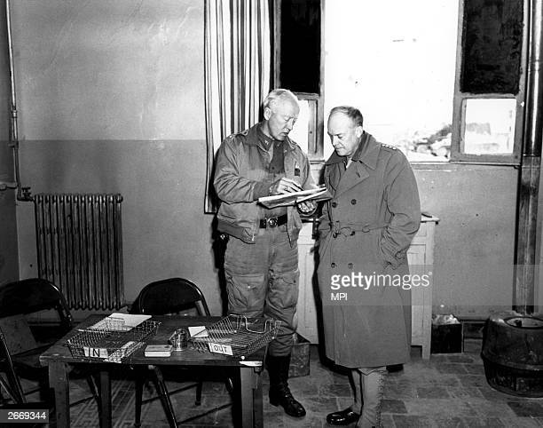 American Generals George Patton and Dwight Eisenhower planning Operation Torch, the invasion of Africa, 1942.