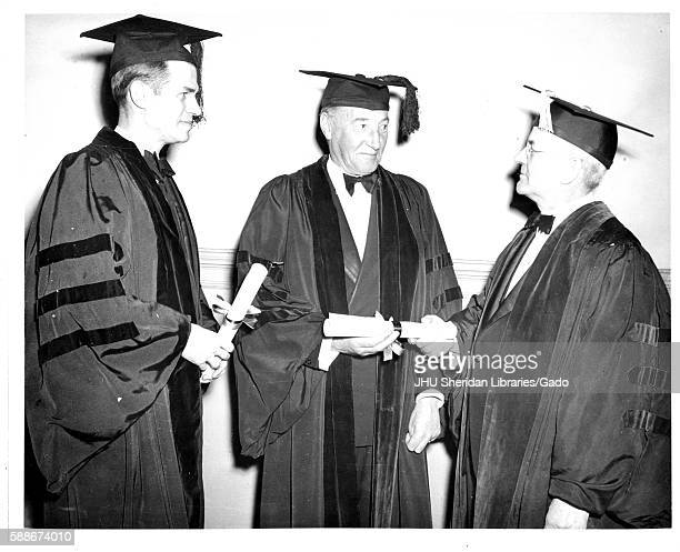 American geographer and President of the Johns Hopkins University Isaiah Bowman presents degrees to British diplomat Archibald Clark Kerr 1st Baron...
