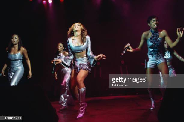 American girl group Destiny's Child performing with dancers at the Shepherd's Bush Empire London 12th March 2000 The group is Farrah Franklin Beyoncé...