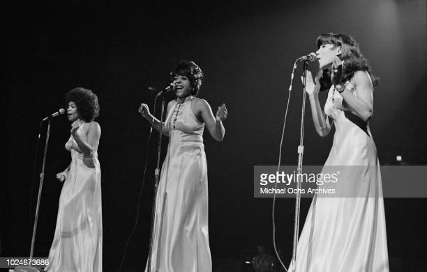 American girl group the Three Degrees perform at Madison Square Garden in New York City during the concert movie 'Let the Good Times Roll' 1972