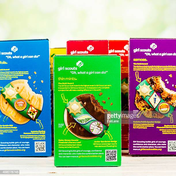 american girl scout cookies - girl scout stock pictures, royalty-free photos & images