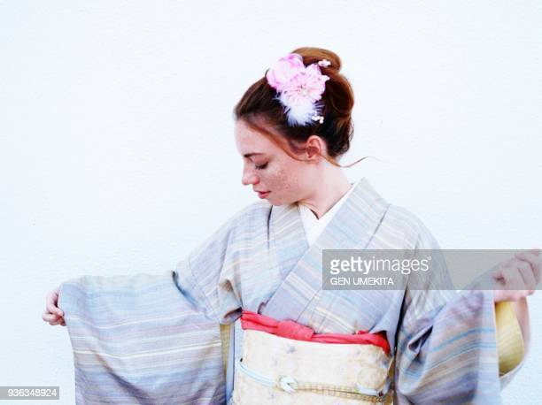 american girl wearing on kimono