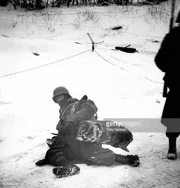 American GIs at Petit Langlir Belgium during the Battle of the Bulge World War II January 1945