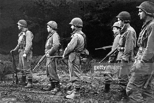 American GIs of F Company 331st Regiment 2nd Battalion 83rd Infantry Division Hürtgen Forest Germany World War II December 1944