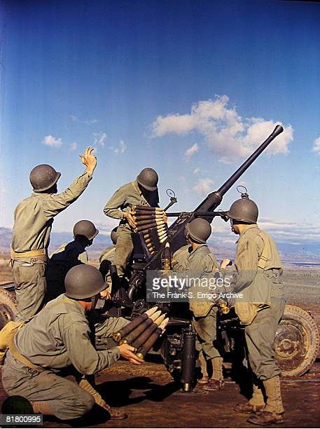 American GIs operate an antiaircraft Bofors gun during a training session in an unidentified location on the west coast of the United States 1943 The...