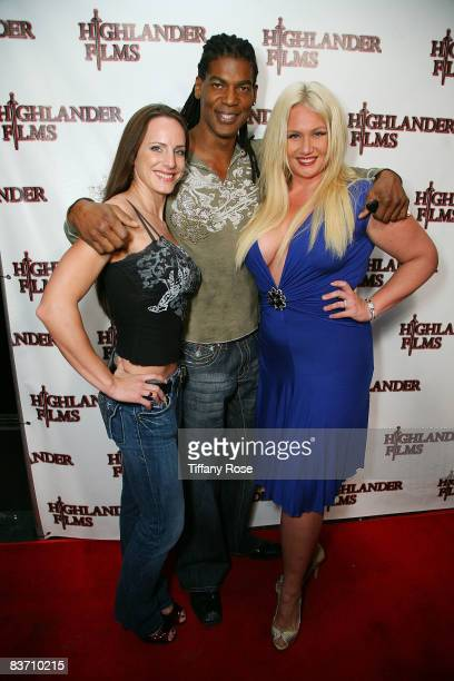 American Gladiators Jamie Kovak William Romeo and Robin Coleman attend William Romeo's Birthday Party at Cinespace on November 15 2008 in Hollywood...