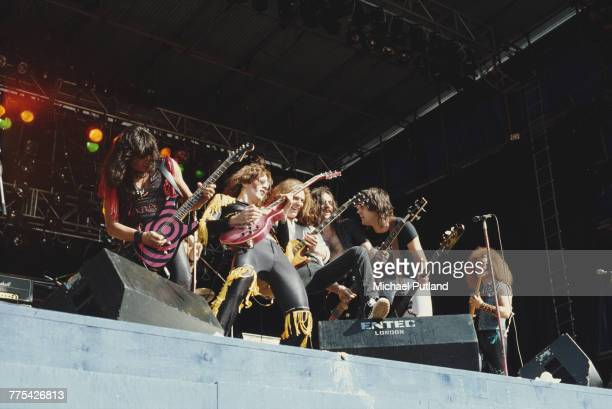 American glam metal group Twisted Sister perform live on stage with Lemmy Kilmister from Motorhead at the Reading Festival near Reading in England...
