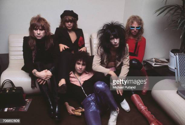 American glam rock group the New York Dolls posed in London 23rd November 1973 Left to right drummer Jerry Nolan singer David Johansen guitarist...