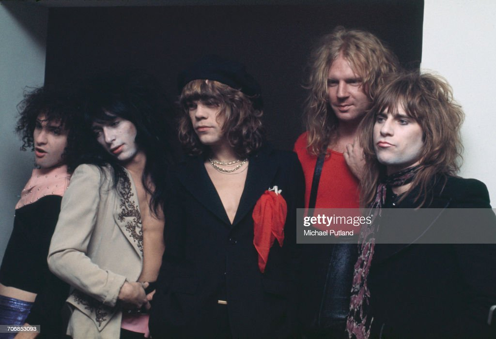American glam rock group the New York Dolls posed in London on 23rd November 1973. Left to right: guitarist Sylvain Sylvain, guitarist Johnny Thunders (1952 - 1991), singer David Johansen, bassist Arthur Kane (1949 - 2004) and drummer Jerry Nolan (1946 - 1992).
