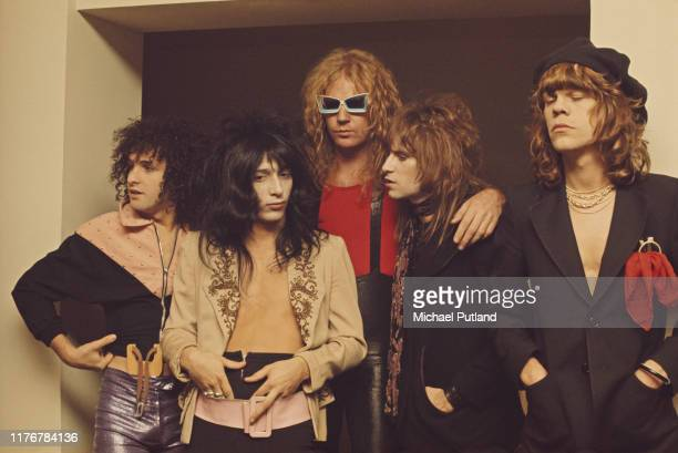 American glam rock group the New York Dolls, posed together in London, 23rd November 1973. Left to right: guitarist Sylvain Sylvain, guitarist Johnny...