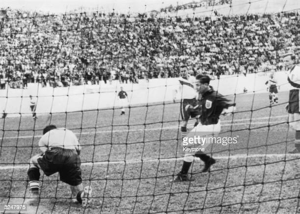 American goalkeeper Frank Borghi saves in front of Tom Finney during the EnglandUSA match on June 29 1950 in Belo Horizonte Brazil in which the...