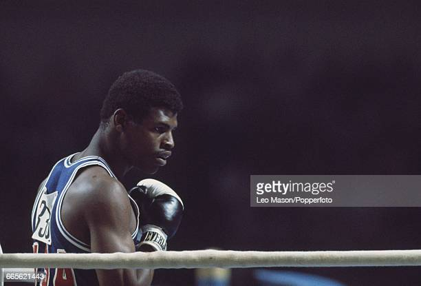 American gold medal winning boxer Leon Spinks pictured in action during progress to reach and win the final of the light heavyweight boxing event...