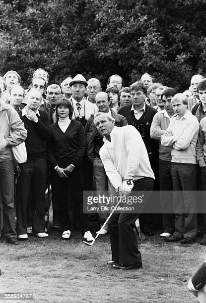 American golfer Arnold Palmer at the Wentworth Club golf course in Surrey, during his World Matchplay game against Seve Ballesteros, 1983.