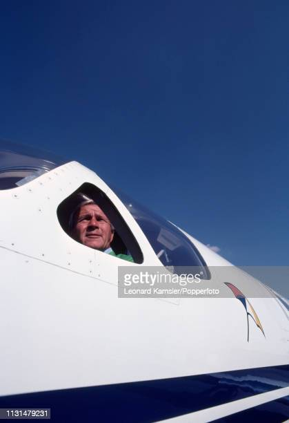 American golfer Arnold Palmer in the cockpit of his Cessna Citation private jet in Latrobe Pennsylvania circa 1982