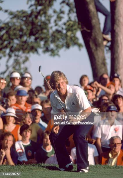 American golfer Ben Crenshaw reacts during the US PGA Championship at Oakland Hills Country Club in Bloomfield, Michigan on 5th August 1979. Crenshaw...