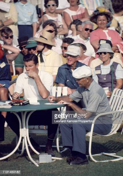 American golfer Ben Hogan signing his scorecard during the US Masters Golf Tournament at the Augusta National Golf Club in Augusta Georgia circa...