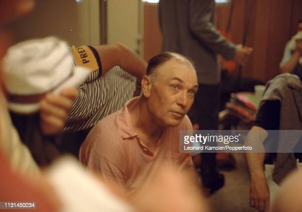American golfer Ben Hogan speaking to the media in the locker room during the US Open at the Baltusrol Golf Club in Springfield New Jersey circa June...