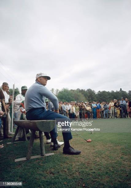 American golfer Billy Casper on the 5th tee enroute to winning the US Masters Golf Tournament held at the Augusta National Golf Club in Georgia circa...