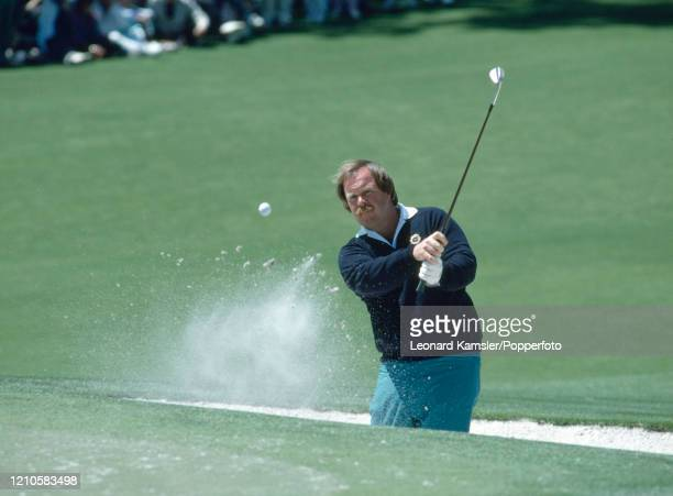 American golfer Craig Stadler hits out of a bunker during the US Masters Golf Tournament at the Augusta National Golf Club in Georgia on 7th April...
