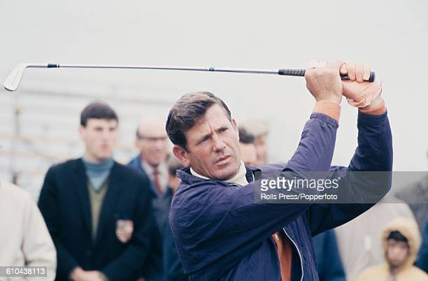 American golfer Doug Sanders pictured in action during play at the 1968 Open Championship at Carnoustie Golf Links in Scotland in July 1968