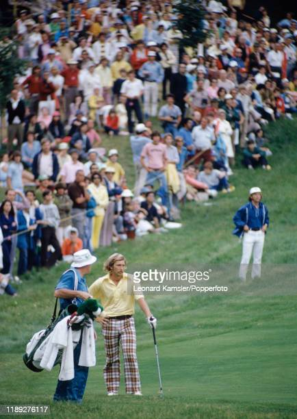 American golfer Forrest Fezler with his caddy during the US Open Golf Championship at the Winged Foot Golf Club in Mamaroneck New York on 16th June...