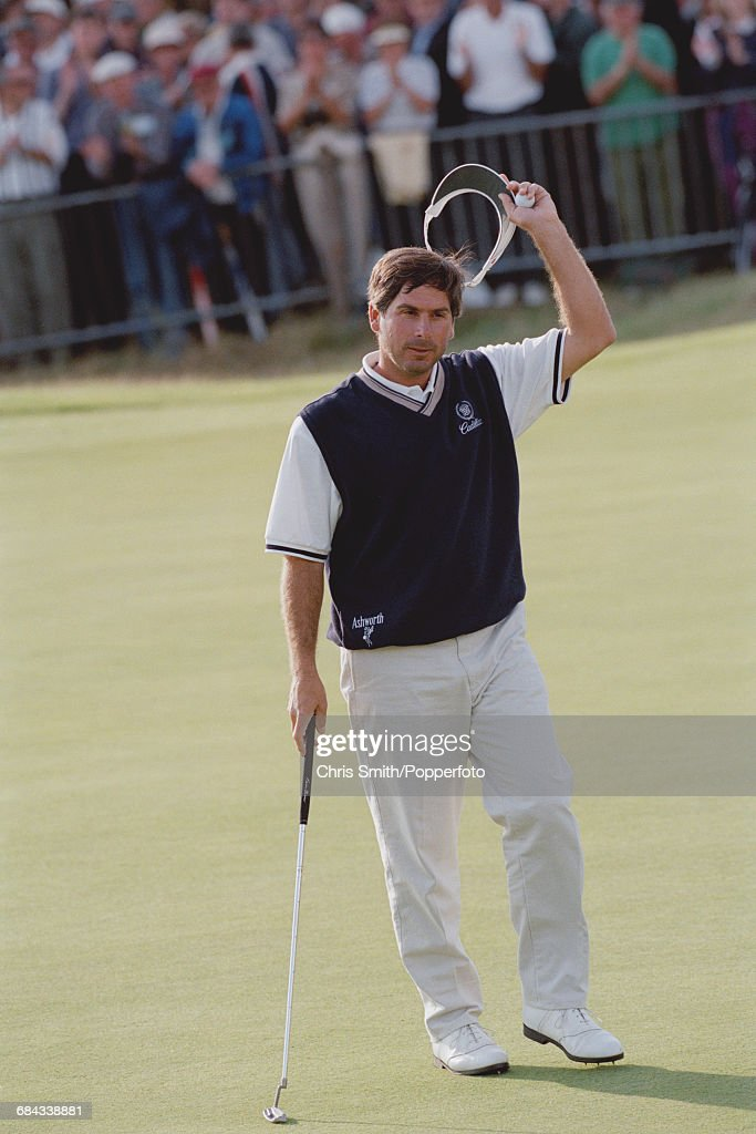 American golfer Fred Couples pictured raising his sun visor in the air during competition to finish in joint 66th place in the 1998 British Open Championship at the Royal Birkdale Golf Club in Southport, England in July 1998.