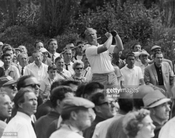 American golfer Jack Nicklaus driving on the fifth fairway at the British Open Golf Championships at Hoylake 13th July 1967