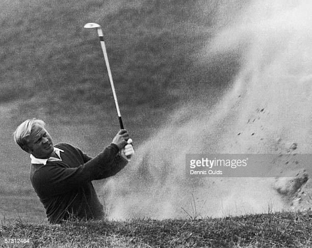 American golfer Jack Nicklaus in a bunker on the 8th green partnering Dan Sikes in the Ryder Cup competition at Royal Birkdale, Lancashire, 19th...