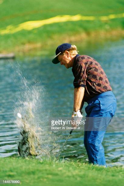 American golfer Jack Nicklaus in the water during the PGA Seniors' Championship at the PGA National Golf Club, Palm Beach Gardens, Florida, 1996.