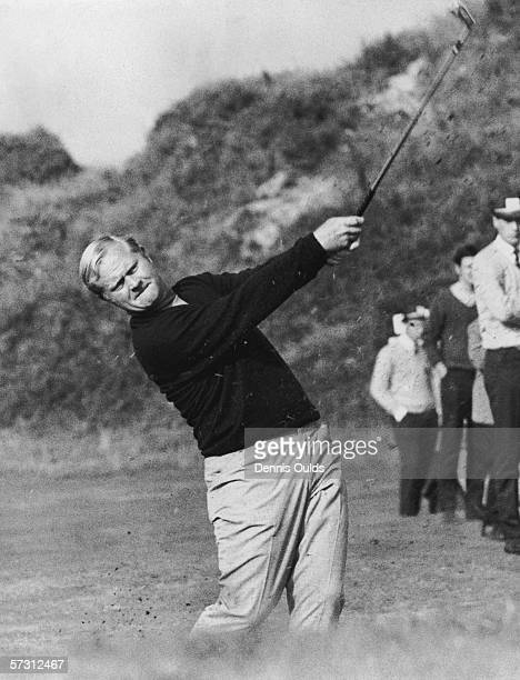 American golfer Jack Nicklaus plays from the third fairway, partnering Dan Sikes on the second day of the Ryder Cup competition at Royal Birkdale,...