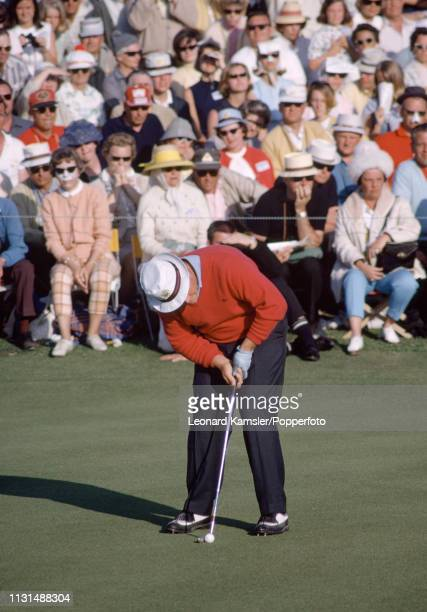 American golfer Jack Nicklaus preparing to putt on the 18th green during the US Masters Golf Tournament at the Augusta National Golf Club in Augusta...