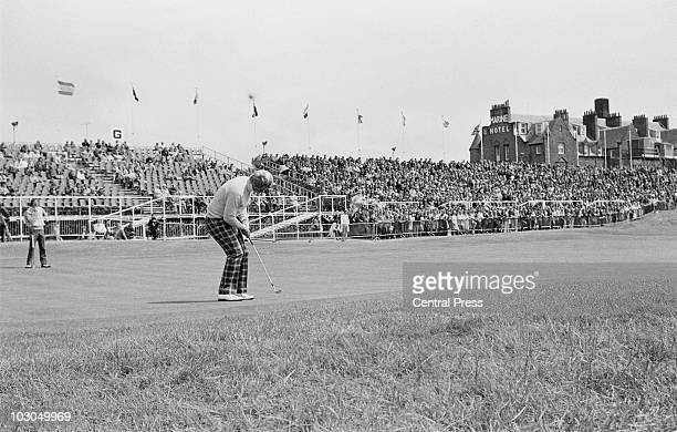 American golfer Jack Nicklaus putting on the 18th green during The Open Championship at the Royal Troon Golf Club Scotland 11th July 1973