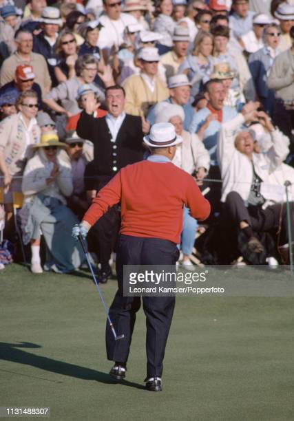 American golfer Jack Nicklaus reacts after missing his putt at the 18th forcing a playoff which he went on to win during the US Masters Golf...