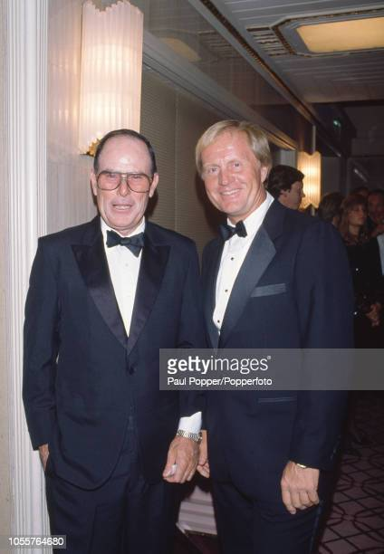 American golfer Jack Nicklaus with golf course architect Pete Dye at The Golfer of the Century Awards dinner at the Waldorf Astoria Hotel in New York...