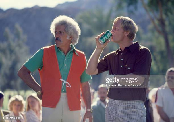 American golfer Jack Nicklaus with his caddy Angelo Argea circa April 1978