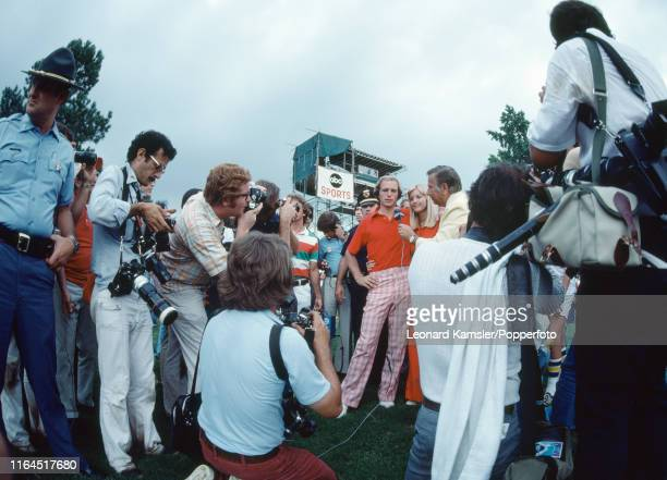 American golfer Jerry Pate with his wife Soozi is interviewed after winning the US Open Golf Championship in his rookie year on the Highland Course...